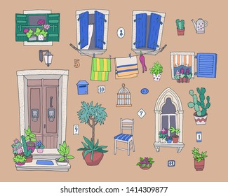 Hand-drawn cute architectural elements - Vector