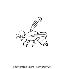 Hand-drawn Cute Cartoon Wasp. Bee Drawn Black Outline Thin Line on White Background. Vector Stock Illustration - Vector Graphic.