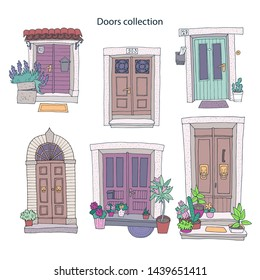 Hand-drawn cute doors collection on white background