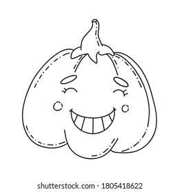Hand-drawn cute pumpkin for Halloween with a smile. Mystical vector illustration for Halloween. Beautiful icon in the style of cartoon for the autumn holiday Halloween.