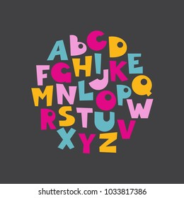 Handdrawn decorative alphabet.Cartoonish style.Letters are arranged in a circle. Round vector colored illustration.