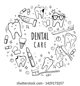 Handdrawn dental and orthodontic vector set: tooth with braces, implant, healthy tooth, irrigator, tooth brushes, paste, mouth wash, interdental and orthodontic brushes. Lettering Dental Care
