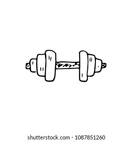 Handdrawn doodle barbell icon. Hand drawn black sketch. Sign symbol. Decoration element. White background. Isolated. Flat design. Vector illustration.