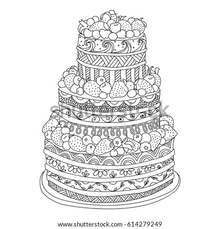 Handdrawn Doodle Cake Berries Coloring Book Stock Vector Royalty