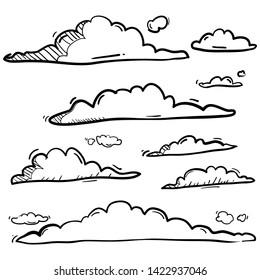 handdrawn doodle cloud illustration  in cartoon style vector