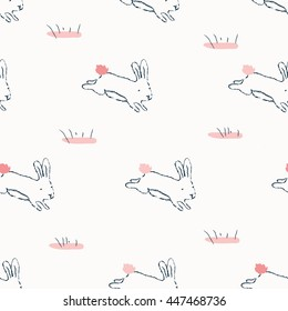 Hand-drawn doodle cute pattern background with rabbit.