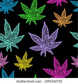 Hand-drawn doodle drawing of a cannabis marijuana leaf, with thick lines in bright colors.