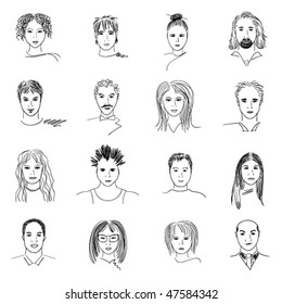 Hand-drawn doodle faces of people of different styles and nationalities.