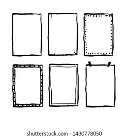 handdrawn doodle frame collection vector