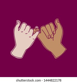 Hand-drawn doodle illustration of pinky swear gesture. Two friends hands, friendship concept. Use as print, sticker, patch. Dark background.