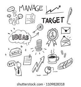 A hand-drawn doodle of marketing business and thinking concept