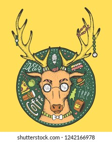 Hand-drawn doodle portrait of hipster deer with pizza slice, coffee, apple, retro van and backpack. Isolated on background. Summer travel concept. Idea of print for t-shirt or poster.