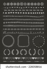 Hand-Drawn Doodle Seamless Borders and Design Elements. Decorative Flourish Frames, Brackets. Vector Illustration. Chalk Drawing. Pattern Brushes