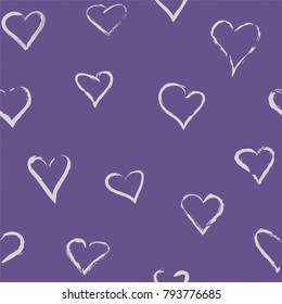 Hand-drawn doodle seamless pattern with hearts. Vector ornament for Valentine's Day, wedding and other romantic events. Can be used for wallpaper, pattern fills, web page background,surface textures
