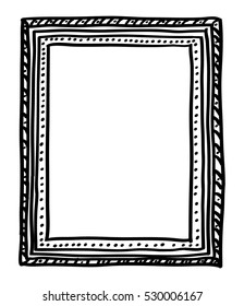 Hand-drawn doodle style picture frame, isolated on white background. Black line-art. Childish drawing. Usable for card, poster, photo, web content, banner, social media.