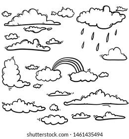 handdrawn doodle unique cloud illustration in cartoon style vector