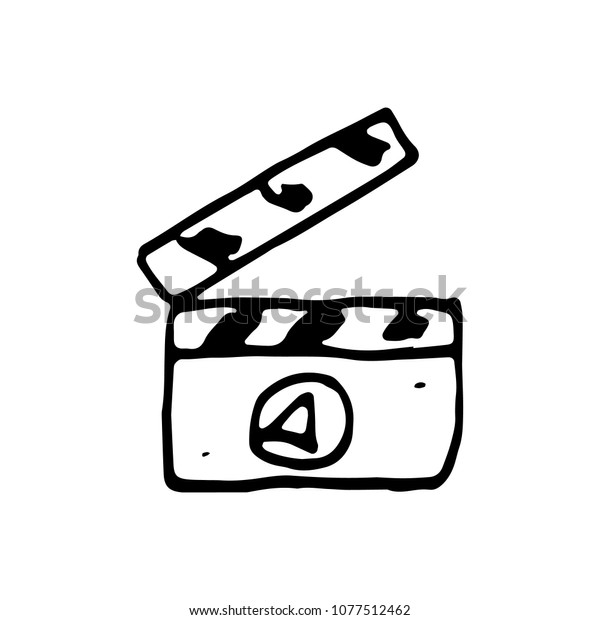 Handdrawn Doodle Video Maker Icon Hand Stock Vector (Royalty