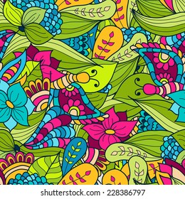 Hand-drawn doodle waves floral pattern, abstract green leaves and flowers. Vector seamless background.