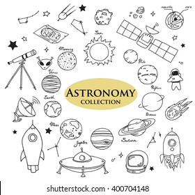 Hand-drawn doodles of the astronomy objects:  planets, rockets, satellite, space, science objects etc. Line art illustrations.