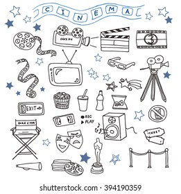 Hand-drawn doodles of the cinema objects: camera, tv, film, 3d-glasses, video cassette, director chair, etc. Line art illustrations.