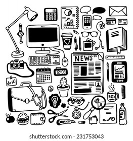 hand-drawn doodles office objects set