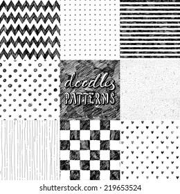 hand-drawn doodles seamless pattern