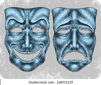 Hand-drawn dramatic masks.