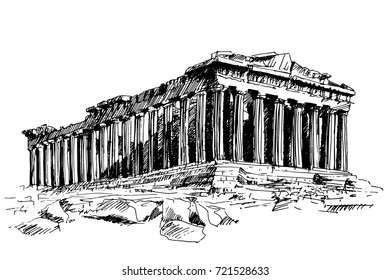 hand-drawn drawing of the famous building of ancient architecture in Athens Parthenon, Greece, trace line drawing.