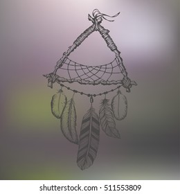 Hand-drawn dream catcher with feathers. Ethnic illustration, tribal
