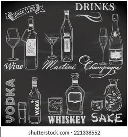 hand-drawn drink menu on chalkboard