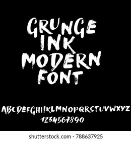 Handdrawn dry brush font. Modern brush lettering. Grunge style alphabet. Vector illustration.