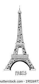 Hand-drawn Eiffel tower