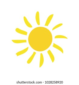 Handdrawn elegant vector flat sun summertime day light spring ecology single simple trandy morning solar website sunshine sunrise sunset silhouette. Summer flat pictogram. copyspace