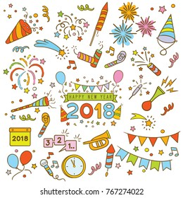 Handdrawn elements of new year celebration isolated over white