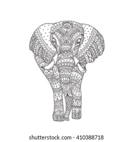 Hand-drawn elephant with ethnic floral doodle pattern. Coloring page - zendala, design for meditation, relaxation for adults, vector illustration, isolated on a white background. Zen doodles