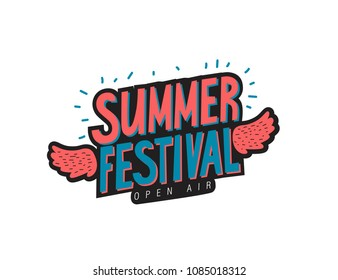 Hand-drawn emblem Summer Festival Open Air with decorative wings. For invitation, card, poster or banner. Summer quotes. Vector illustration.