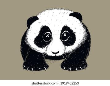 Hand-drawn EPS 8 Vector illustration of cute Panda