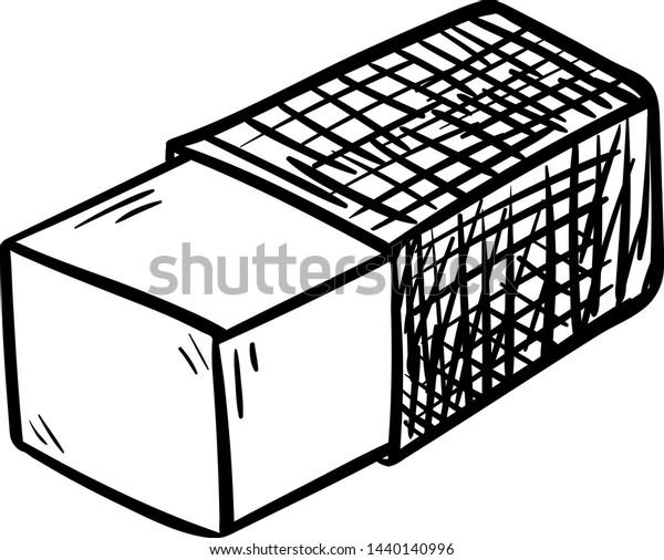 Vetor Stock De Handdrawn Eraser Doodle Icon Hand Drawn Livre De