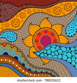 Hand-drawn ethno pattern, tribal background. It can be used for wallpaper, web page, bags, print and others. African style. Vector illustration