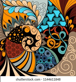 Hand-drawn ethno zentangle pattern, tribal background. It can be used for wallpaper, web page, bags, print and others. African style. Vector illustration