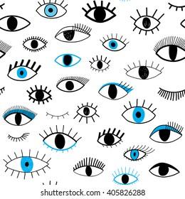 hand-drawn eye doodles seamless pattern