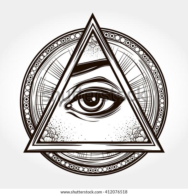 e142180bc9d2c Hand-drawn Eye of Providence. All seeing eye pyramid symbol. New World Order