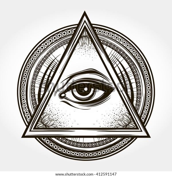 Handdrawn Eye Providence All Seeing Eye Stock Vector Royalty Free 412591147