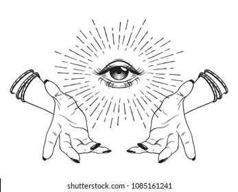 Hand-drawn Eye of Providence in hands of witch, all seeing eye, conspiracy theory, alchemy, religion, spirituality, print or tattoo design vector illustration