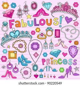 Hand-Drawn Fabulous Fashion Princess Notebook Doodle Design Elements Set on Pink Lined Sketchbook Paper Background- Vector Illustration
