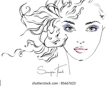 Hand-drawn woman's face. Fashion illustration