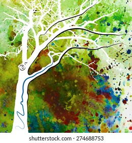 Hand-drawn fantasy watercolor tree.