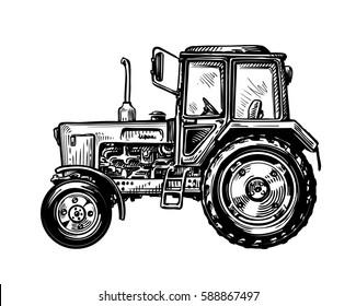Hand-drawn farm truck tractor. Transport sketch vector illustration