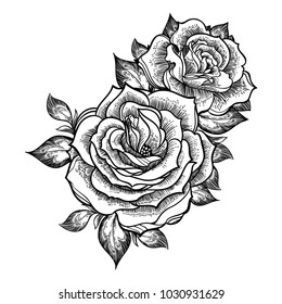 Hand-drawn fashion boho flash linear style beautiful roses. Tattoo art. Graphic vintage composition. Vector illustration isolated. T-shirts, stickers, print, posters