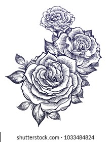 Hand-drawn fashion boho flash linear style beautiful roses composition. Tattoo art. Graphic vintage composition. Vector illustration isolated. T-shirts, stickers, print, posters
